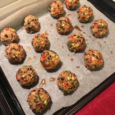 rice balls satay vegan