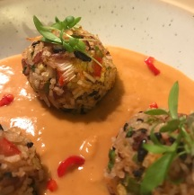 rice balls vegan gluten satay sauce